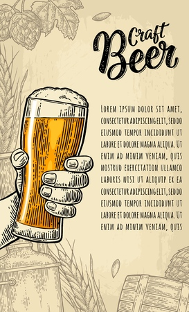 Male hand holding glass. Craft Beer calligraphic lettering. Vintage color vector engraving illustration for poster, invitation to party. Beige background with hop branch, ear of barley, barrel