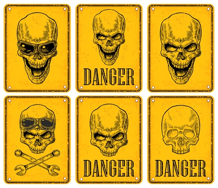 Skulls on sign danger. Black vintage engraving vector illustration. For poster and tattoo. Hand drawn design element isolated on yellow background Stock Vector - 114774948