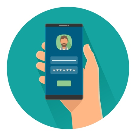 Male holding smartphone with enter password for access to phone on screen. Color flat vector illustration isolated on turquoise circle. For info graphic, banner, presentations, web icon