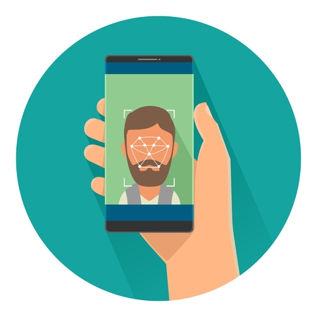 Male holding smartphone with laser scan ID face for access to phone on screen. Color flat vector illustration isolated on turquoise circle. For banner, presentations, web icon concept privacy, safety Illustration