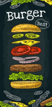 Burger with flying ingredients include bun, tomato, salad, cheese, onion, cucumber. Best burger lettering. Vector color vintage engraving Illustration isolated dark background. Vertical poster