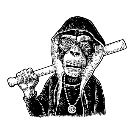 Monkey raper dressed the hoodie, necklace with dollar holding baseball bat. Vintage black engraving illustration. Isolated on white background. Hand drawn design element for poster, t-shirt