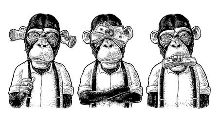 Tres monos sabios con dinero en las orejas, los ojos y la boca. No ver, no oír, no hablar. Ilustración de grabado negro vintage para cartel, web, camiseta, tatuaje. Aislado sobre fondo blanco