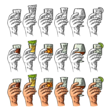 Hand holding glass with tequila, vodka, rum, cognac, whiskey, gin. Illustration