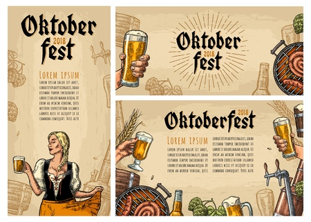 Horizontal, vertical posters to oktoberfest festival. Beer tap, glass, wood barrel, barbecue, glass, bottle, hop branch, barrel and girl holding mug. Vintage vector color engraving illustration on beige