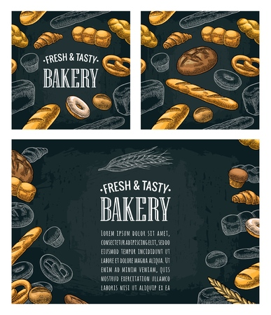 Poster and seamless pattern with bread. Vector vintage engraving