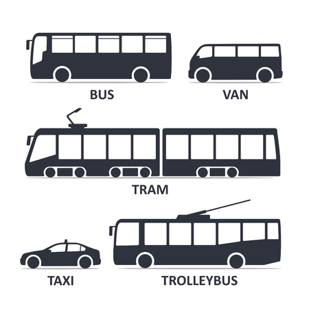 public transport type icons set. Bus, Van, Tram, Taxi, Trolleybus. Vector black illustration isolated on white background with title. Variants of car body silhouette for web. Stock Vector - 111968331