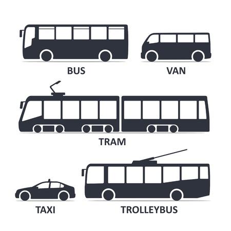 Symbole für den öffentlichen Nahverkehr festgelegt. Bus, Van, Straßenbahn, Taxi, Trolleybus. Schwarze Illustration des Vektors lokalisiert auf weißem Hintergrund mit Titel. Varianten der Karosserie-Silhouette für das Web. Vektorgrafik