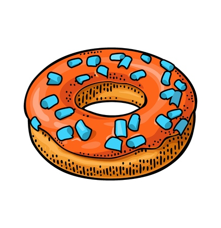 Donut with red icing and cyan sprinkles. Vector color flat illustration for poster and menu bakery shop. Isolated on black chalkboard with vintage white chalk engraving ray, lettering, bubble