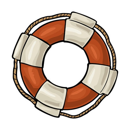Lifebuoy with rope isolated on white background. Vector vintage engraving Stock Photo