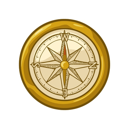 Compass rose isolated on white background. Vector color vintage illustration. For poster yacht club.