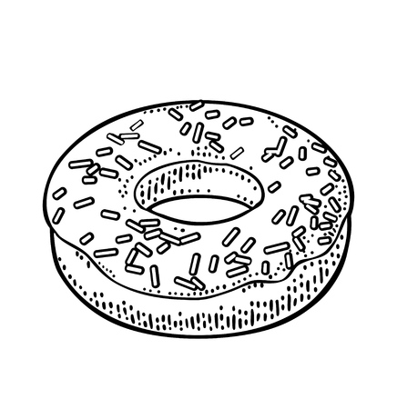 Donut with icing and sprinkles. Vector monochrome engraving Illustration