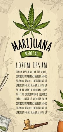 Vertikales Poster Cannabis. Zigarette, Feuerzeug, Knospen, Blätter, Flasche, Glas, Plastiktüte, Pfeife. Weinlesefarbvektorstichillustration lokalisiert auf Beige. Handschrift, die Marihuana medical beschriftet