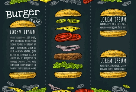 Burger with flying ingredients include bun, tomato, salad, cheese, onion, cucumber. Best burger lettering. Vector color vintage engraving Illustration on dark background. Vertical template menu, flyer