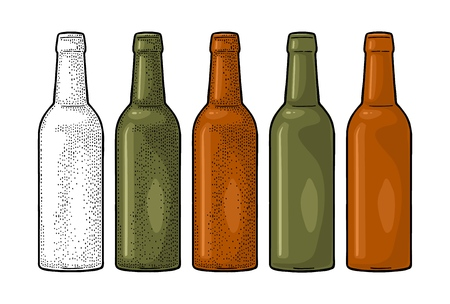 Open beer bottles with green, yellow and brown glass. Vintage flat color vector engraving illustration. Isolated on white background.