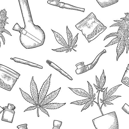 Nahtloses Muster mit Marihuana. Zigaretten, Pfeife, Feuerzeug, Knospen, Blätter, Flasche, Glas, Plastiktüte, Pfeife zum Rauchen von Cannabis. Vintage schwarze Vektorgravurillustration lokalisiert auf Weiß