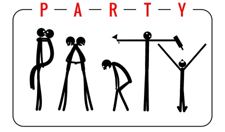 The inscription Party made from people figures. Vector illustrations for invitations to parties
