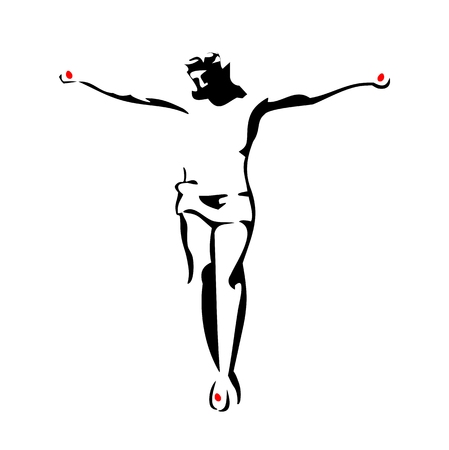 Jesus Christ crucified. Vector black illustration on white background. Vettoriali