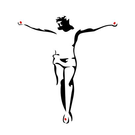 Jesus Christus gekreuzigt. Schwarze Vektorgrafik auf weißem Hintergrund.
