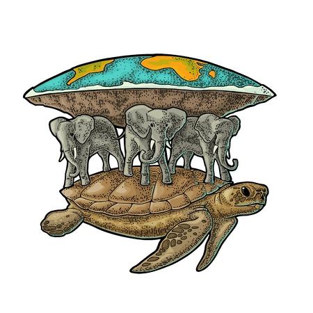 Elephants and turtle holding flat earth. Engraving vintage black illustration.
