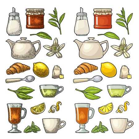 Set tea. Cup, branch, leaf, kettle, flower, lemon, croissant, bag, sugar shaker. Vector color vintage engraving and flat illustration for label poster web. Isolated on white background Çizim