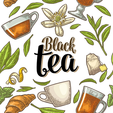 Seamless pattern with branch, leaf, flower, lemon, croissant, bag, cup. Lettering Black Tea. Vector color vintage engraving illustration on white background. For label, poster, web