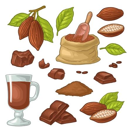 Trozo de chocolate, barra, afeitado. Frutos de cacao con hojas y frijoles. Ilustración de color de la vendimia del vector. Aislado sobre fondo blanco. Elemento de diseño dibujado a mano para etiqueta y cartel.
