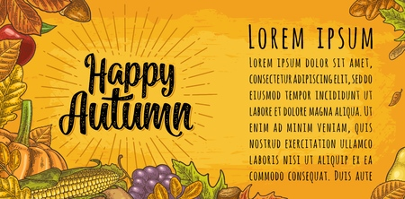 Horizontal poster with set leaf, friuits, vegetables and acorn. Happy Autumn calligraphic handwriting lettering. Vector vintage engraved illustration on yellow background