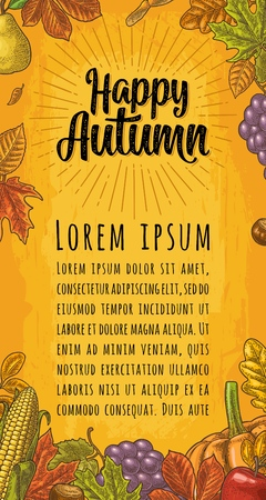 Vertical poster with set leaf, friuits, vegetables and acorn. Happy Autumn calligraphic handwriting lettering. Vector vintage engraved illustration on yellow background