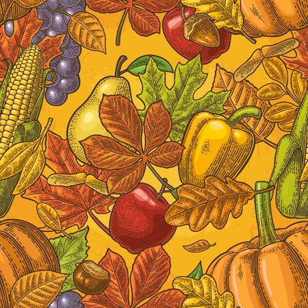 Seamless pattern leaf, acorn, chestnut, friuits, vegetables and acorn. Vector vintage engraved illustration on yellow background