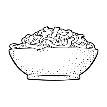 Noodle in the plate. Isolated on white background. Vintage black vector engraving