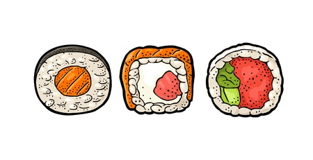 Set Sushi. Philadelphia with smoked salmon, cream cheese and cucumber. Roll with caviar. Isolated on white background. Vintage color vector engraving