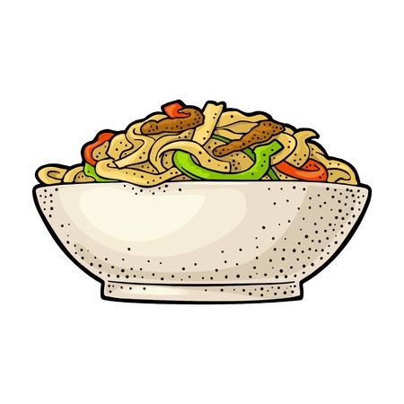 Noodle in the plate. Isolated on white background. Vintage color vector engraving Illustration