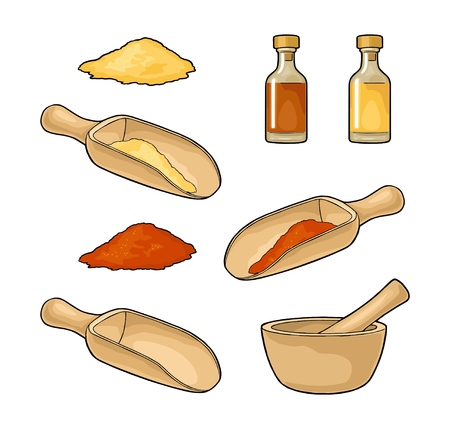 Wooden mortar, pestle and scoop with crushed piece. Glass bottle of tincture. Vintage color vector illustration for label, poster. Isolated on white background. Hand drawn design element