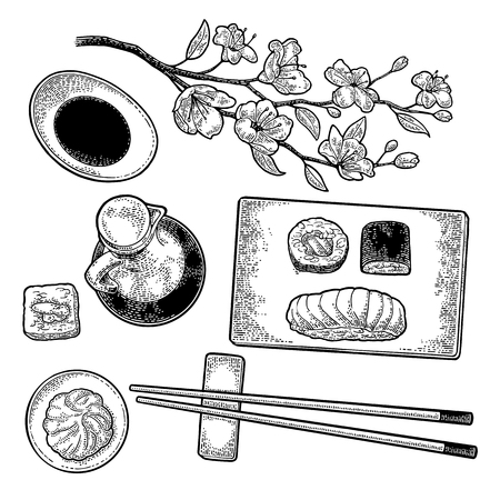 Set Sushi. Chopsticks, wasabi, nigiri, rolls, board, soy sauce, bottle, bowl, sakura cherry branch with flowers and bud. Isolated on white. Isolated on white background. Vintage black vector engraving