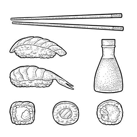 Set Sushi. Chopsticks, wasabi, nigiri, rolls, soy sauce in glass bottle. Isolated on white background. Vintage black vector engraving