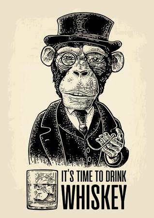 Affe Gentleman hält eine Uhr und einen Hut, Anzug. Gravur