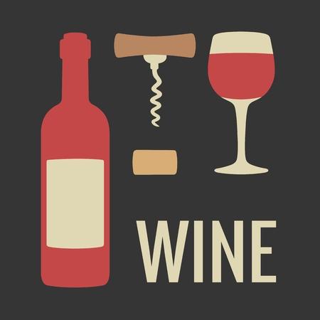 Set wine icon. Bottle glass of wine cork corkscrew. Vector flat illustration. For web, info graphics Banco de Imagens - 110487840