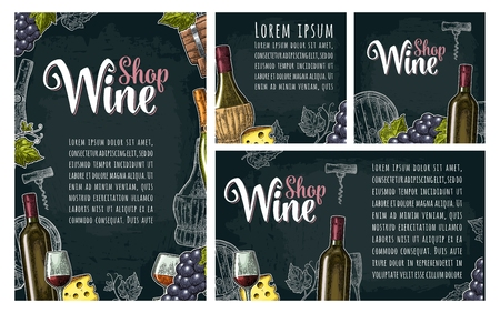 Set horizontal, vertical and square posters or labels for wine. Illustration