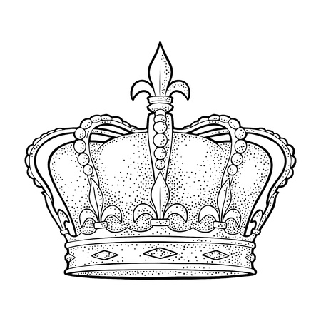 King crown. Engraving vintage vector black illustration. Isolated on white background. Hand drawn design element for label and poster Stock Vector - 110438674