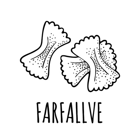 Pasta farfalle. Vector vintage engraving black illustration isolated on white background. Hand drawn design element 向量圖像