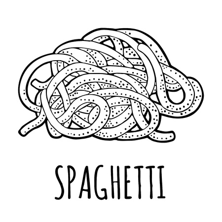Spaghetti. Vector vintage engraving black illustration isolated on white background. Hand drawn design element