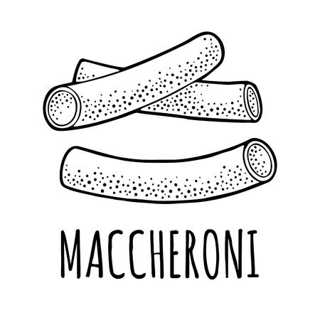Pasta maccheroni. Vector vintage engraving black illustration isolated on white background. Hand drawn design element