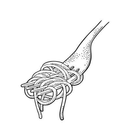 Spaghetti on fork. Vector vintage engraving black illustration isolated on white background. Hand drawn design element