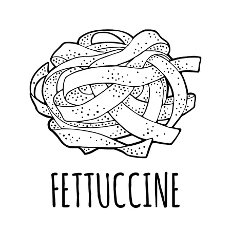 Fettuccine. Vector vintage engraving black illustration isolated on white background. 向量圖像