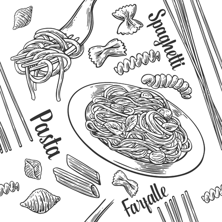 Seamless pattern set pasta with title. Vector gray vintage engraving illustration for poster, menu, web, banner, info graphic. Isolated on white background