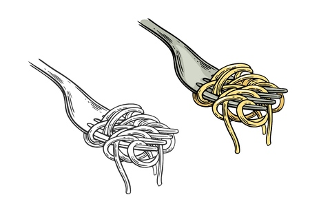 Spaghetti on fork. Vector vintage engraving color and black illustration isolated on white background.
