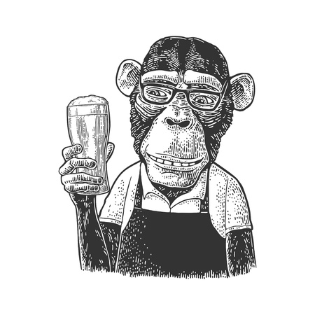 Monkey fast food worker dressed in apron holding glass of beer. Vintage black engraving illustration. Isolated on white background. Hand drawn design element for poster and t-shirt
