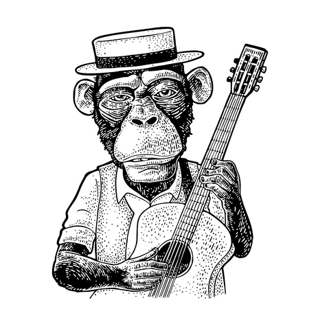 Monkey dressed hat and shirt holding guitar. Vintage black engraving illustration. Isolated on white background. Hand drawn design element for poster
