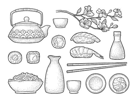 Set Sushi. Chopsticks, wasabi, nigiri, rolls, board, soy sauce, cup, bottle, bowl, teapot, sakura cherry branch with flowers and bud. Vintage black vector engraving isolated on white background.